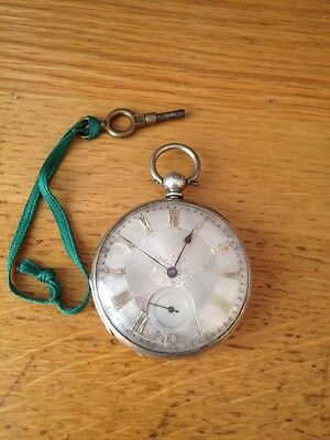 Antique Silver Pocket Watch With Silver Dial & Key