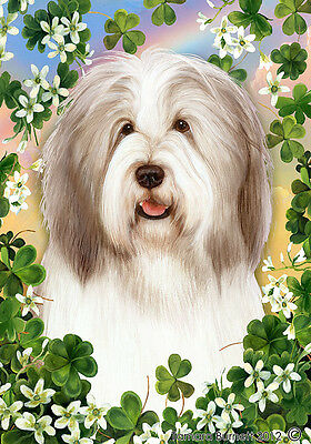 Large Indoor/Outdoor Clover Flag - Fawn & White Bearded Collie 31483