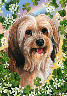 Large Indoor/Outdoor Clover Flag - Sable Tibetan Terrier 31480
