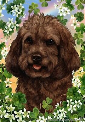 Large Indoor/Outdoor Clover Flag - Chocolate Cockapoo 31262