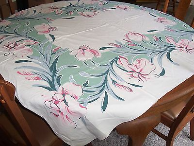 Beautiful Vintage Tablecloth with Large Pink Flowers, Iris,