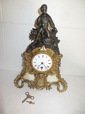 French bronze/samac Mantel Clock 14 inches 1880
