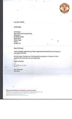 Manchester United Letter Re Cammell Laird Fc Signed By Ken Ramsden (Secretary)