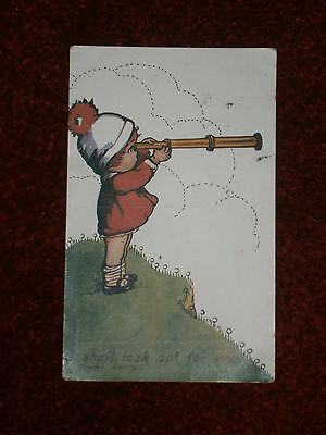 Flora White -child postcard - I shall look out for you - design no.1984