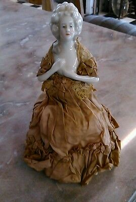 "ANTIQUE 1920's VICTORIAN LADY PORCELAIN & CLOTH 10"" DRESSER LAMP RARE!"