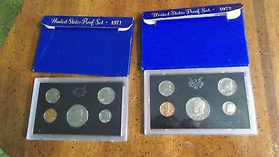 1972 S & 1971 S PROOF Sets  5 Coin Sets SEALED in Plastic