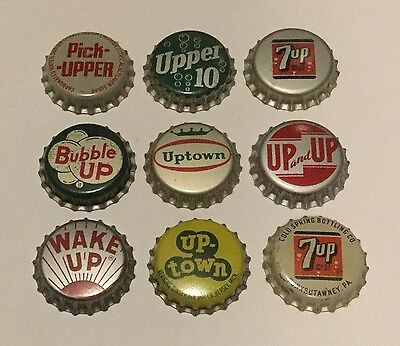 "9 vintage ""Up"" cork lined soda bottle caps 7up, Bubble Up, Wake Up, Uptown"