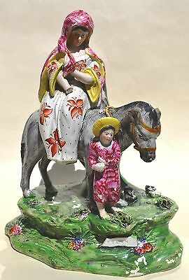 c1820 STAFFORDSHIRE PEARLWARE FIGURE GROUP- 'RETURN FROM EGYPT'- PATRIOTIC GROUP