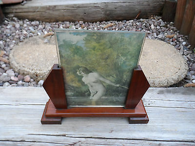 Art deco wooden double glass sided picture/photo frame/  nude lady bathing