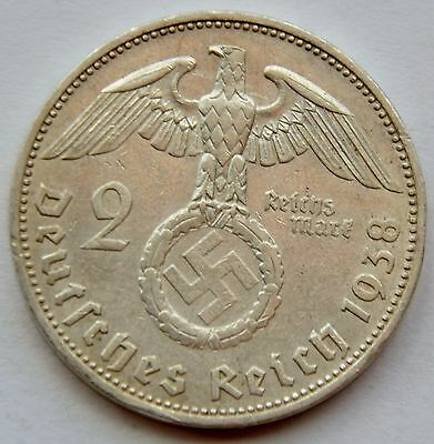2 Mark 1938 J Third Reich Nazi Germany Silver coin
