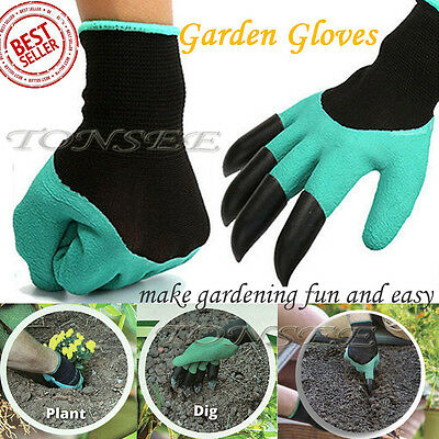 Garden Gloves for Digging & Planting with 4ABS Plastic Claws gardening gloves G