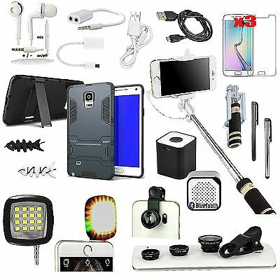 Case Cover+Speaker+Monopod+Fish Eye Accessory Bundle For Samsung Galaxy Note 4