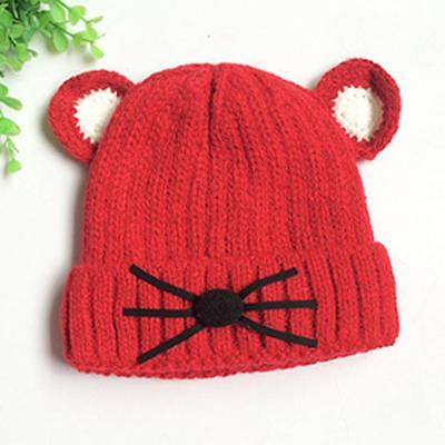 US RED Mouse Print Baby Girls Toddler Winter Warm Knitted Crochet Beanie Hat Cap