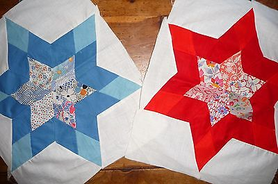 Vintage Lot of 2 SIX POINT STAR Quilt Blocks 1920-30's