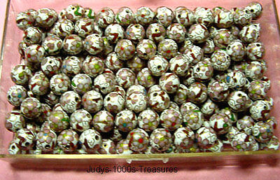 35 CLOISONNE BEADS WHITE  PINK FLOWERS 10mm. ROUND ENAMEL