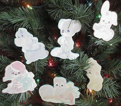 Lot of 6 Precious Moments Vintage Wooden Clip On Ornaments