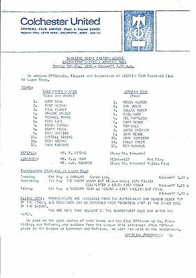 Colchester United v Wisbech Town 1985/6 (5 May) Eastern League