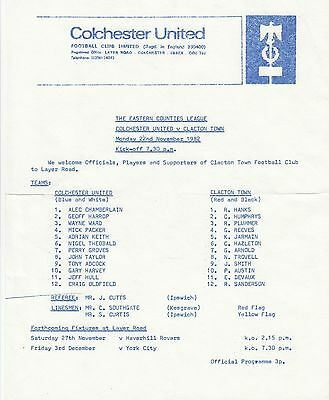 Colchester United v Clacton Town 1982/3 (22 Nov) Eastern Counties League