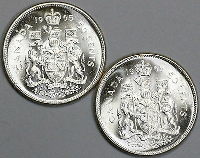 1965 CANADA Silver 50 Cents TWO BU Coins (17041906R)