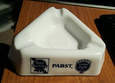 Vintage Collectible White Milk Glass Pabst Ashtray Beer Bar Blue Ribbon