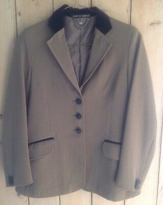 Pretty Ponies Top Quality Lightweight Show Jacket Green Tweed Size 30""