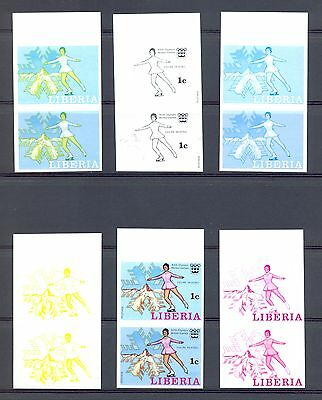 Liberia -1976 Mi#980 6 Dif Colour Proofs -Pairs -Imperf-(*) Olympics Skating @1