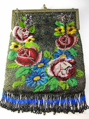 """Antique Micro Beaded 1920""""s Roses Fringe Vintage Purse Silver Frame Silk Lining"""
