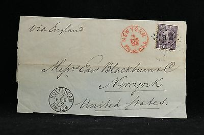 Netherlands: 1872 #11 Single Use Cover to USA, New York Paid All Red CDS