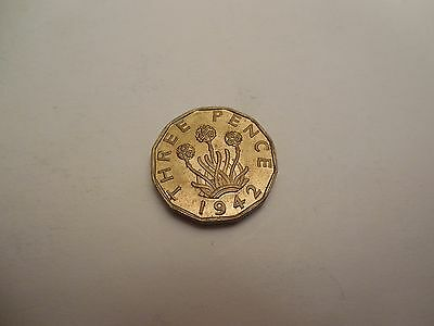 1942 George VI Brass Threepence Uncirculated High Lustre