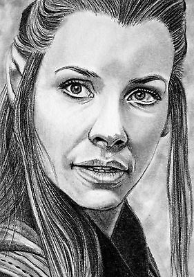 ORIGINAL ACEO sketch card THE HOBBIT Evangeline Lilly ELF TAURIEL