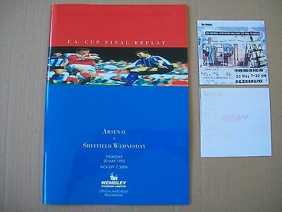 1993 FA Cup final replay programme in condition Arsenal v Sheff W. REPRODUCTION.