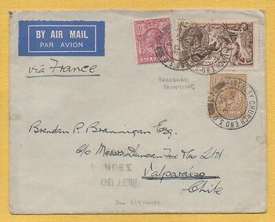 1934 AIR MAIL Cover to VALPARAISO, CHILE, 2s/6d SEAHORSE