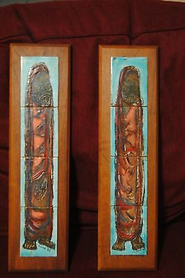 2 Mid Century Modern Tile Art On Wood Signed 1963