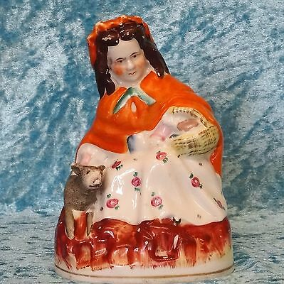 Antique Staffordshire Red Riding Hood and Wolf FIGURE - 1