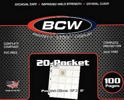 400 NEW BCW 20 Pocket Pages For 2X2 Cardboard Coin Holders - FAST SHIPPING