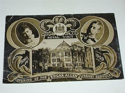 Royal Visit To Sheffield 1909, Opening Edgar Allen Library Postcard!