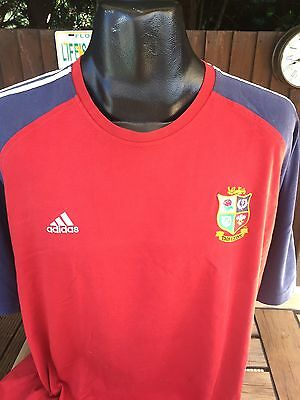 Vintage British Lions Home Rugby Shirt Training Top Size Large Adidas Rare Good