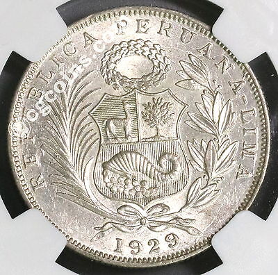 1929 NGC MS 63 PERU Silver 1/2 Sol Coin Lot A (17011901C)