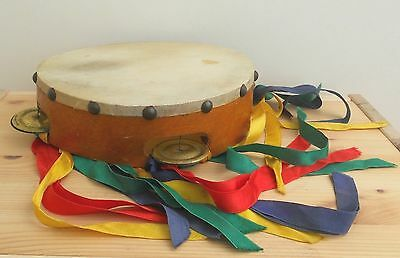 Vintage Wooden Tambourine ~ With Ribbons ~ 21Cm Across