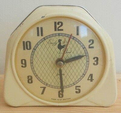 Vintage Yellow Francis Early Bird Clock ~ Working ~ Deco Style