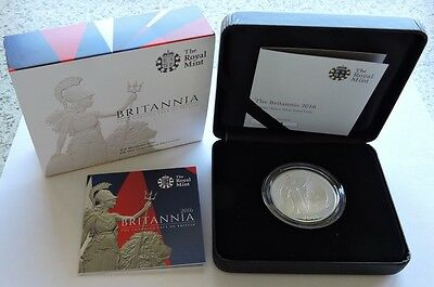 2016 Royal Mint Silver Proof £2 1oz Britannia Cased With COA
