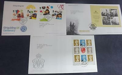 3 First Day Covers from 2010 Girlguiding Britain Alone M/S Kings Stamps Pre Pane