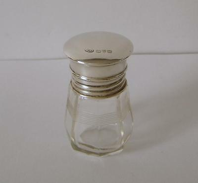 A Sterling Silver Lidded Cut Glass Small Scent Bottle Chester 1922