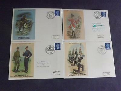 Four Royal Marines Museum First Day Covers RM 5 6 7 8  FDCF1