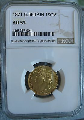 1821 Great Britain Sovereign NGC AU-53