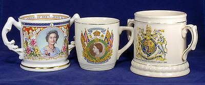 3 x Queen Elizabeth II Mugs The Coronation & The Golden Jubilee