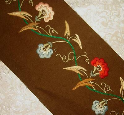 BEAUTIFUL 19th CENTURY VICTORIAN SILK ON WOOL EMBROIDERY, MORNING GLORY FLOWERS