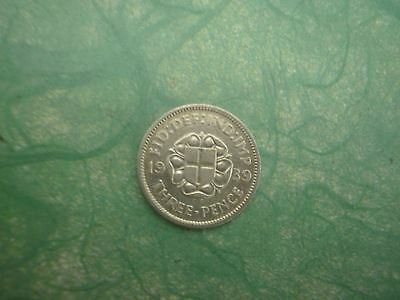 1939  low mint year george vi silver threepence in fine condition