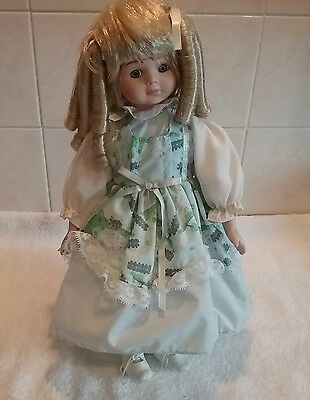 Collectors Porcelain Doll Green Multi Dress