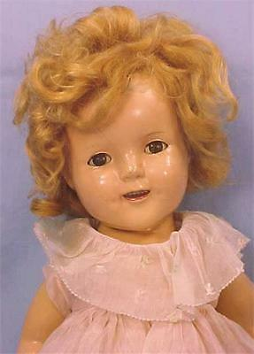 Shirley Temple Composition Doll Ideal 19 in Vintage Original Pink Dress 1930s